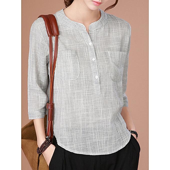27bbe802f Fashion Casual Women Half Button Minimalist 3/4 Sleeve Blouse @ Best ...