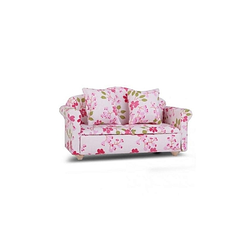 Magideal Dollhouse Miniature Mini Flower Double Seat Sofa Couch With