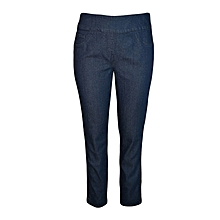 Mid Indigo Straight Leg Pull On Jeans
