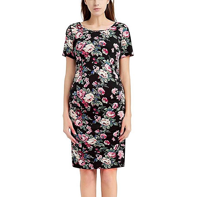 72f136b739 huskspo Women s Pregnancy Floral Print Dress Maternity Short Sleeve  Sundress Clothing