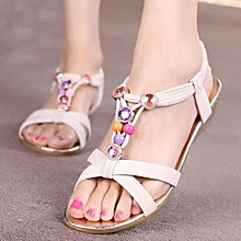 70416ce306253 Blicool Shop Women Sandals Women Slipper Summer Beaded Bohemian Sandals  Beach Shoes BG -Beige