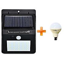 LED Solar Power PIR Motion Sensor Wall Light Outdoor Waterproof Garden Lamp,get one LED bulb 3W-white