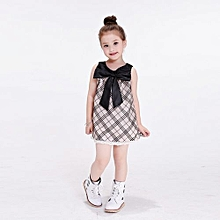 Little Girls's Lattice Casual Dress Sleeveless Corsage Trim Plaid Skirt