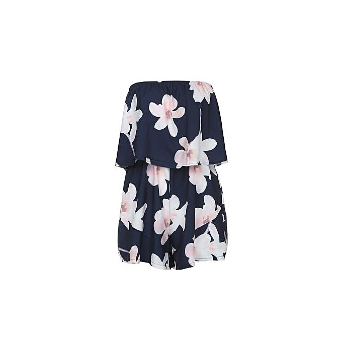 42ac51b313 Eissely bluerdream-Womens Off Shoulder Floral Print Holiday Mini Playsuit  Ladies Shorts Jumpsuit - Navy L