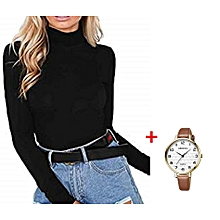 Ladies Stretchy Full Neck Bodysuit Top + FREE Watch