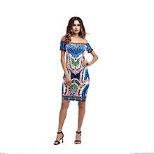 Ankara Short Gowns,Off Shoulder Short Ladies dress-Multi
