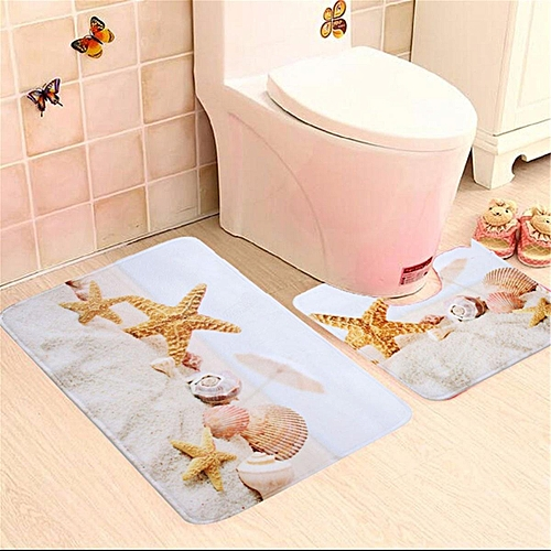 Shell Starfishbath Mat Set 2 Piece Toilet Rug Bathroom Contour Non Slip