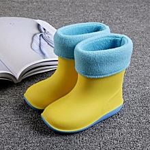 Waterproof Child Soild Rubber Warm Infant Baby Rain Boots Kids Rain Shoes- Yellow