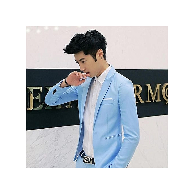 Buy Fashion Royal Blue Korean Style Men Suit Coat Slim Suit Mens