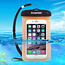 Transparent Universal Waterproof Bag With Lanyard For IPhone, Galaxy, Huawei, Xiaomi, LG, HTC And Other Smart Phones(Orange)
