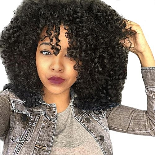 QIBEST bluerdream-Front Wigs For Black Women Long Curly Hair 56cm Afro Heat  Hair Wigs -Black d4c809440