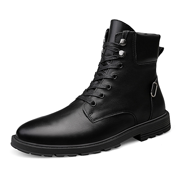 Socnodn Mens Casual Shoes Genuine Leather Work Riding Boots Black