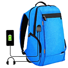 Outdoor Multi-function Comfortable Breathable Casual Backpack Laptop Bag With Handle, External USB Charging Port & Earphone Port(Blue)