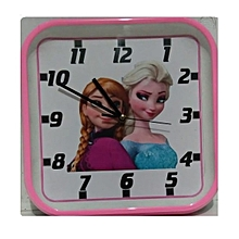 Wall clock - with frozen cartoon square shaped, PINK plastic frame-27x27 cms diameter