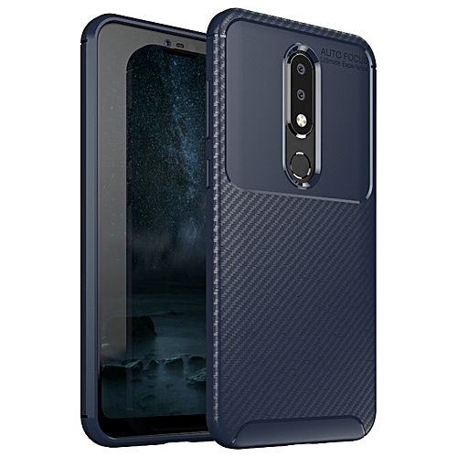 new arrival 859e0 af6bf Nokia 6.1 PLus/Nokia X6 Silicone Case TPU Carbon Fiber Pattern Phone Back  Cover - Blue