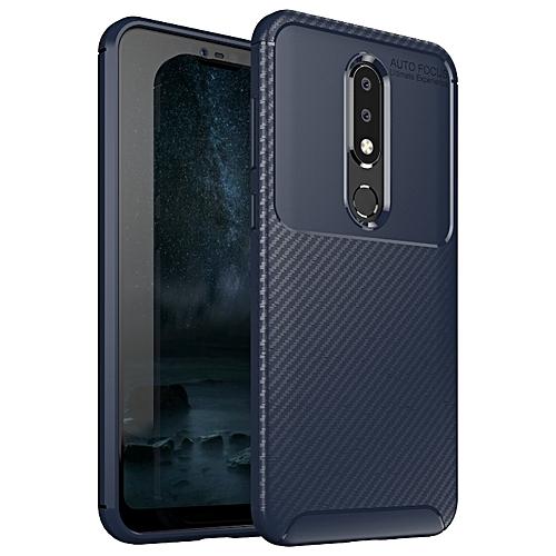 new arrival a7721 eb0e9 Nokia 6.1 PLus/Nokia X6 Silicone Case TPU Carbon Fiber Pattern Phone Back  Cover - Blue