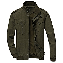 Mens Cotton Zip Up Jacket - ARMY GREEN