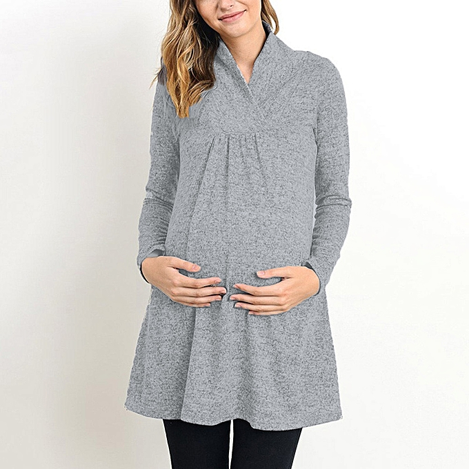 b185a2576710b Women's Loose Maternity Clothes Pregnant Shirts Casual Long Sleeve V Neck  Pregnancy Blouses