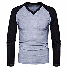 bluerdream-Mens Casual Long Sleeve Shirt Slim Fit Shirt V Neck Patchwork  Blouse Top - Gray