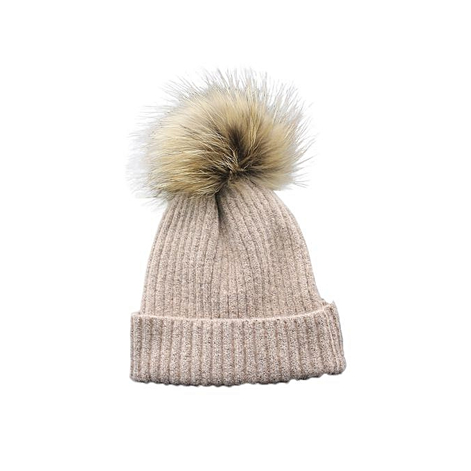 Child Boys And Girls Winter Cashmere Hat Fur Wool Knit Beanie Raccoon Warm  CapPK 6b35978a2342