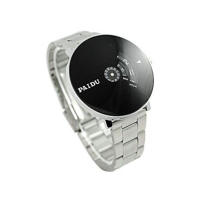 Blicool Wrist Watch Stainless Silver Band PAIDU Quartz Wrist Watch Black Turntable Dial Mens Gift-silver - silver