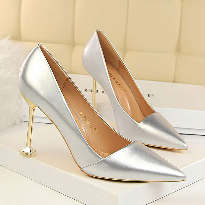 c3eb27422f2 Tauntte 9.5cm OL Office Formal Shoes Women High Heels Pumps (Silver ...
