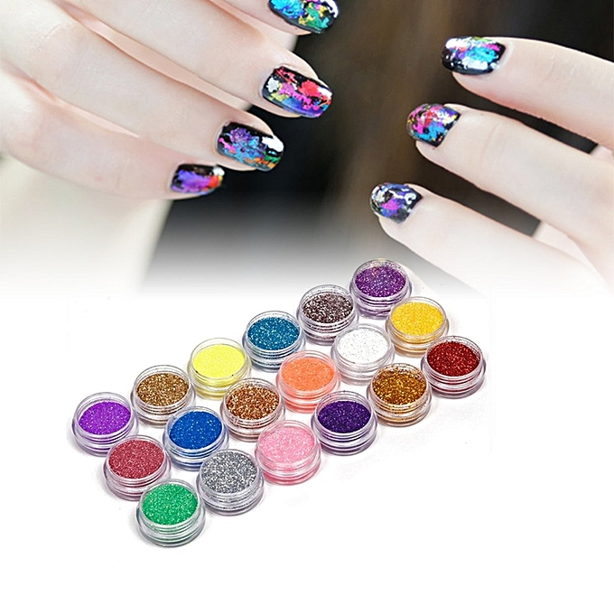 Buy Allwin 18 Colors Nail Art Glitter Powder Dust For UV GEL Acrylic ...