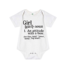 Babies Cute Letter Printed Rompers - White