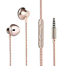 Sports Headphones Metal Earplugs Heavy Bass Mobile Phone Headphones Wire Control with Wheat Spot