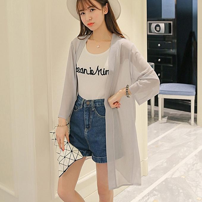 151ac156177e New women's sunscreen chiffon shirt long sleeve women's thin coat large  size-grey