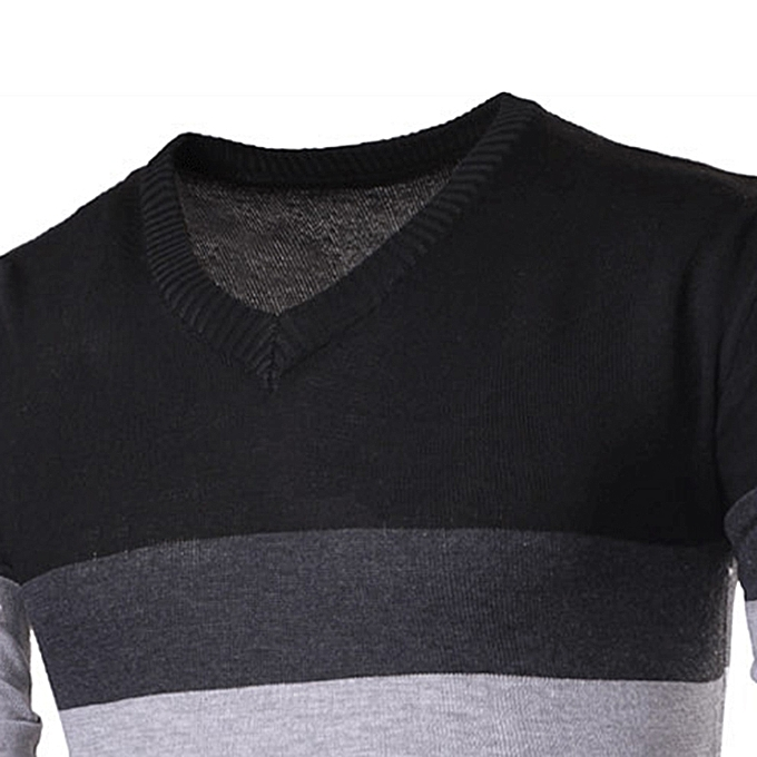 e5e1b46884b ... Men Spring Autumn Fashion Stripe V-neck Sweaters Cotton Knitting Leisure  Slim Fit Pullovers