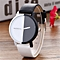 Fovibery Neutral Black And White Pattern Fashion Leather Quartz Wrist Watch