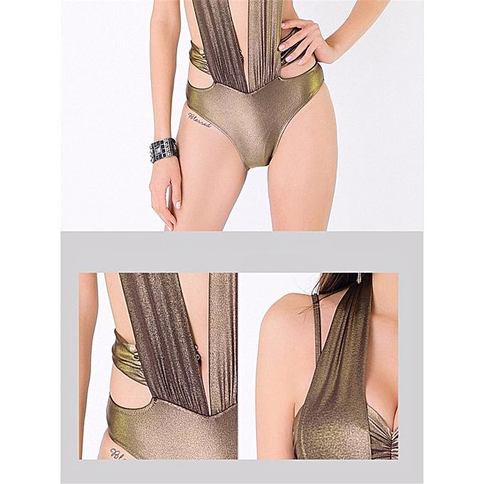 5e01a5c621 ... Summer Exotic Push Up Halter Underwire Bikini Gold Beachwear One-Pieces  ...