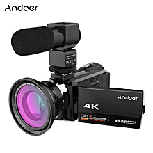 4K 1080P 48MP WiFi Digital Video Camera Camcorder Recorder with 0.39X Wide Angle Macro Lens External Microphone Novatek 96660 Chip 3inch Capacitive Touchscreen IR Infrared Night Sight 16X Digital Zoom