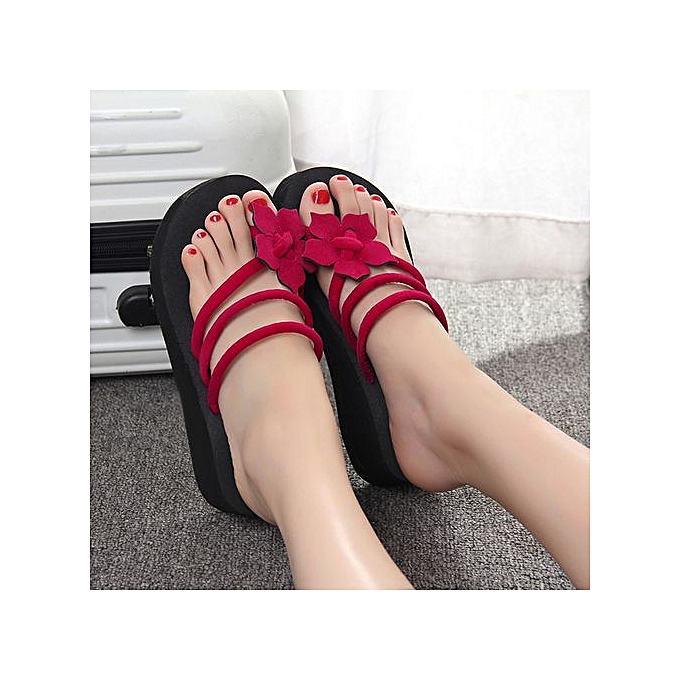 716c2d4f03e1 Hiaojbk Store Women s Leisure Flower Non-slip Platform Shoes Wedges High  Heels Slippers-Red