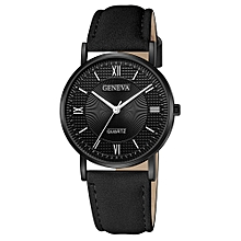 Duanxinyv-Men's Fashion Sport Stainless Steel Case Leather Band Quartz Analog Wrist Watch