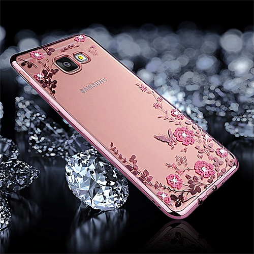 sports shoes 1dd75 71a5d For Samsung Galaxy J7 Prime Flowers Pattern Diamond Encrusted  Electroplating Soft TPU Protective Cover Case (Rose Gold)