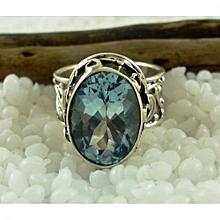 Blue Topaz Semi Precious Gemstone in 925' Sterling Silver Ring Size 6.