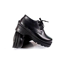 Leather Black Official Unisex School Shoes Made In Kenya.