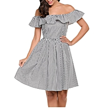 Casual Slash Neck Backless Off Shoulder Ruffle Striped Pleated Dress-Black 781561799