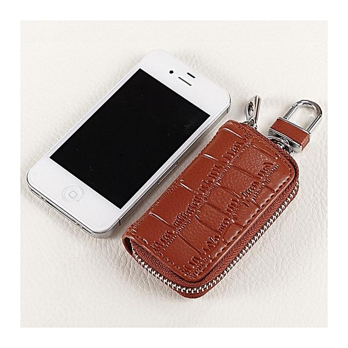 ... Genuine Leather Key Holder Zipped Key Pouch Keychain Auto Car Key Case  Bag 1a5070b608bc
