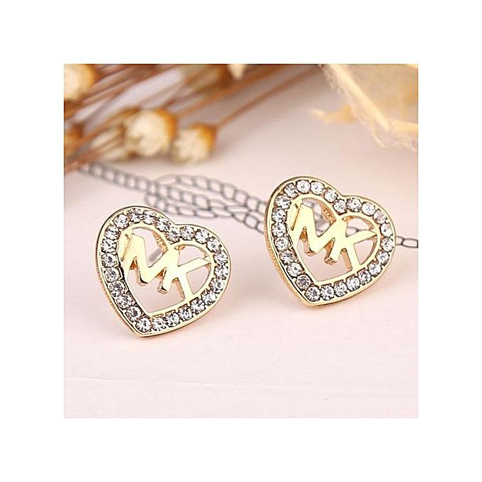 Hot Hollow Heart Shaped Diamond Crystal Stud Earrings For Women Gold Jewelry Golden