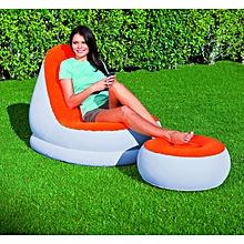Inflatable Café Chaise Chair [w] Foot Rest - Orange/Light grey