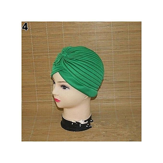 Women Stretchy Hat Turban Head Wrap Band Chemo Bandana Hijab Pleated Indian  Cap-Green d60ad3e0d93