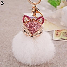 Cute Gift Bling Rhinestone Fox Rabbit Fluffy Ball Keychain (Rose-red Fox + White)