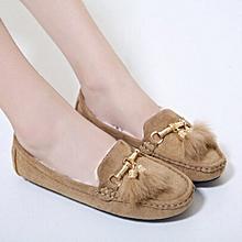 Women Winter Tassel Flats Shoes Lady Casual Soft Pea Shoes Boots BG/35-Beige