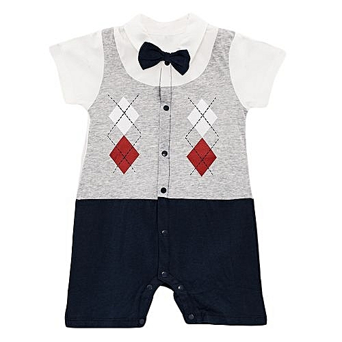 ad7fa1d4512d CARTERS Cute Baby Boy Toddler Bowknot checked short Sleeve Boys ...