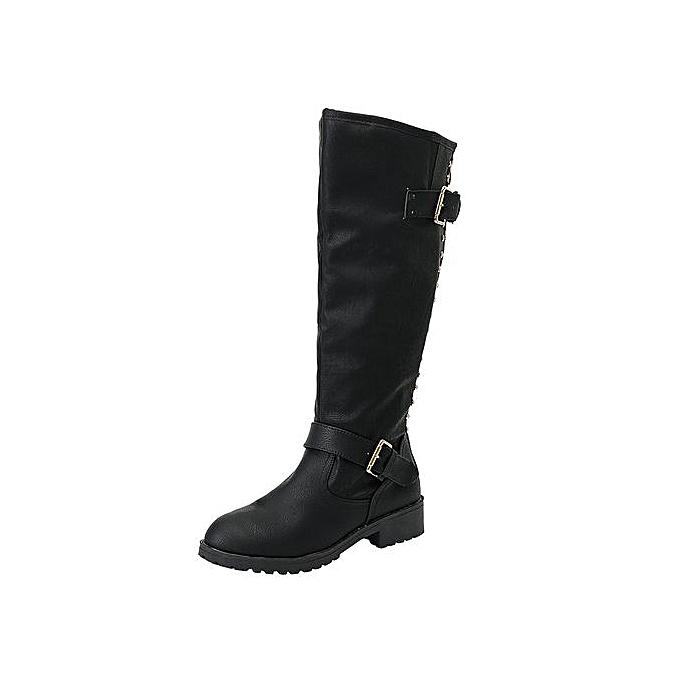 e9d028d7feb Jiahsyc Store Women Ladies Shoes Rivet Roman Riding Knee High Cowboy Boots  Martin Long Boots-Black