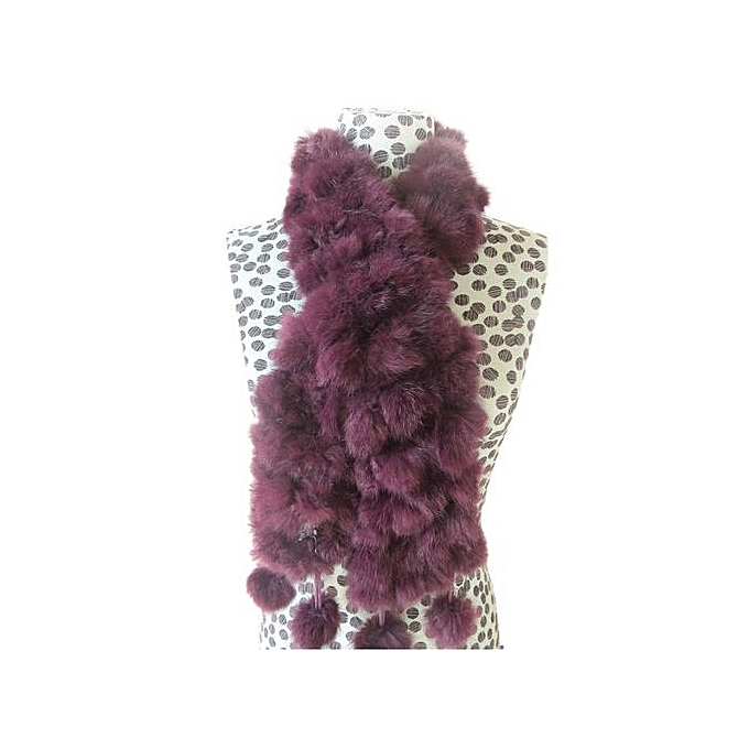 52ea4580ac1 Hiaojbk Store Women Winter Rabbit Fur Scarf Lady Casual Fur Scarves Fur  Ball Velvet Scarf- Purple