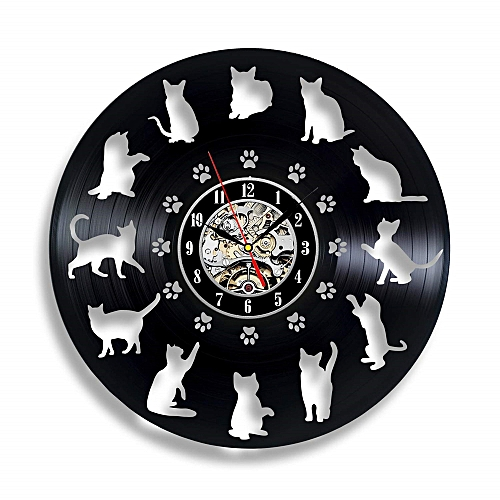 Generic Funny Cat Lovers Vinyl Record Wall Clock Cute Ornaments Birthday Gifts For Her Animals Decor Kids Cats Art Party Decorations Animal Lover Gift Ideas